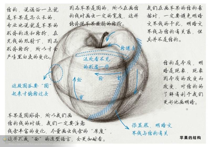 通过苹果的画法理解素描的塑造问题
