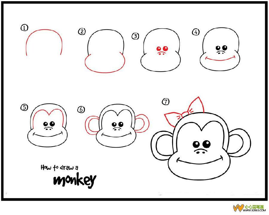 如何画动物:猴子简笔画1.开始画一个颠倒的美元
