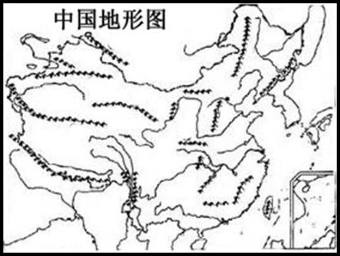 中国地形空白图